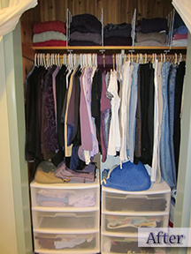 Clothes closet, organized by professional organizer